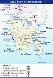 Bay Of Bengal Map Land Ports Map Of Bangladesh