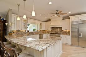 Kitchen Cabinets And Countertops Kitchen Amusing Cream Granite On Cream Cabinets Contemporary