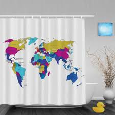 Map Of The World Shower Curtain by World Map Curtains Best Curtain 2017