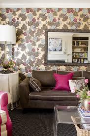 Floral Interiors Liz Levin Interiors Floral Wallpaper Pink Pillows Mirror Over