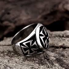 men s ring stainless steel german lron cross ring retro vintage biker