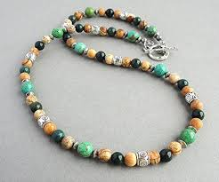 natural stone beads necklace images Mens natural stone beaded necklace 18 20 22 inch green jpg