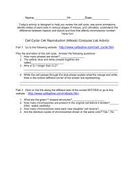 Mitosis And The Cell Cycle Worksheet Alluring Cell Mitosis Worksheet Answers Answer Key 2