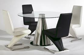Modern Glass Dining Tables And Chairs Modern Round Black Glass - Designer table and chairs