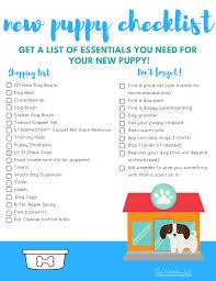 Bathroom Necessities Checklist New Puppy Essentials Checklist Free Printable