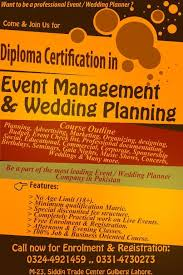 wedding planning courses diploma certification in event management wedding planning lahore
