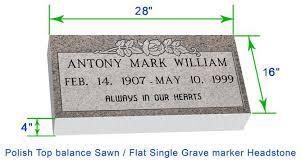 headstones grave markers mf01 flat single grave marker headstone 28 x16 x4 p1swn