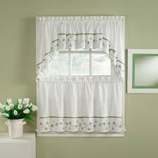 Silver Valance White Fabric Curtain With Green And Purple Leaves On Silver Hook