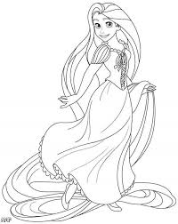 disney princess coloring pages rapunzel with lovely long hair