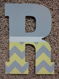 hand painted chevron wooden letters by wallapproved craft