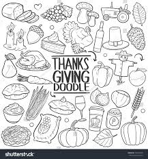 thanksgiving doodle icons sketch stock vector
