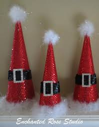 trio santa christmas tree cones sparkle sequence fabric