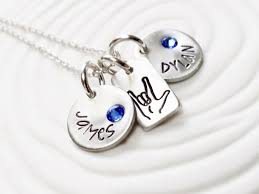 childs name necklace asl i you necklace sign language birthstone name