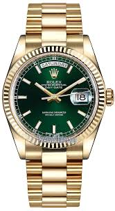 118238 green index president rolex day date 36mm yellow gold
