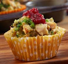 mini chicken cups make with turkey for thanksgiving