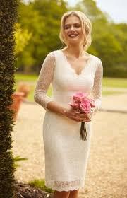 simple informal sheath v neck satin wedding dress for older brides