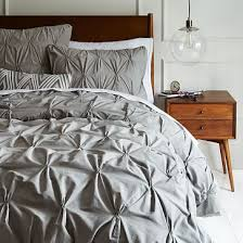 Textured Duvet Cover Sets Organic Cotton Pintuck Duvet Cover Shams Feather Gray West Elm