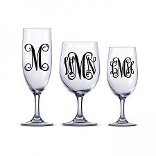 diy monogram wine glasses diy vine monogram decal one or three initial sticker decal