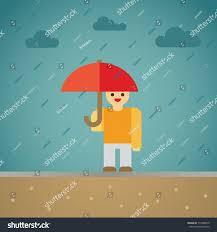 rain man umbrella flat illustration umbrella stock vector