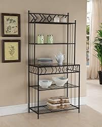 Metal And Wood Bakers Rack Amazon Com 5 Tier Black Metal Glass Shelves Kitchen Bakers Rack