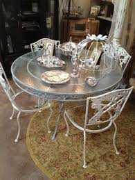 Patio Furniture Glass Table Vintage Lyon Shaw Iron Patio Table And Cottage Garden Chairs