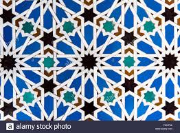 detail of moorish tiles at real alcazar palace seville andalusia