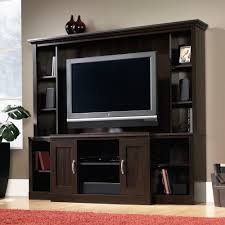 Tv Media Cabinets With Doors Trendy Espresso Wood Entertainment Center With Flat Screen Tv