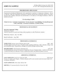 Phlebotomy Sample Resume by Examples Of Resumes Resume Outline Cv Example Template Regarding