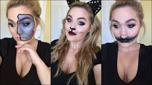 cute halloween cat makeup easy halloween makeup 3 diy costumes with eyeliner youtube