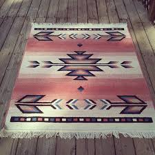 Southwestern Throw Rugs Vintage Pink Southwest Navajo Inspired Print Wool Area Rug