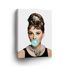 audrey hepburn chewing gum canvas print home decor iconic