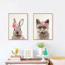 rabbit poster wear flowers kawaii animals rabbit deer prints poster nursery