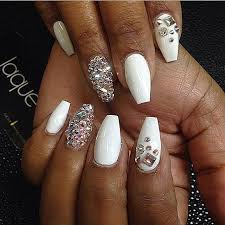 white coffin nails with rhinestones search to toe