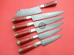 Hand Forged Kitchen Knives Lot Of 6 Pcs Damascus Kitchen Chef Knives Custom Handmade Knife