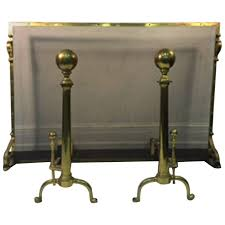 Antique Brass Fireplace Andirons exceptional giant brass fireplace screen with andirons at 1stdibs