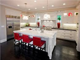 Kitchen Island Red Stunning Marble Island And Elegant Red Stools For Classic Kitchen