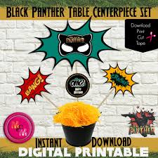 avengers invites black panther birthday party centerpiece printable set