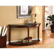 furniture of america crescent glass top console sofa entry way