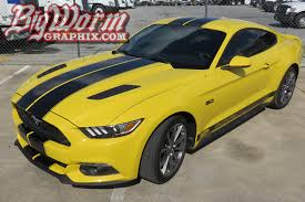 Silver Mustang With Black Stripes 2015 17 Mustang Dual Full Length With Pinstripes From Big Worm Graphix