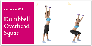 dumbbell overhead squat is a total body exercise that works your