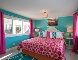turquoise bedroom decor pink curtain and turquoise wall for impressive master bedroom