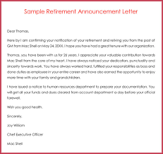 retirement announcement retirement letter sles exles formats writing guide