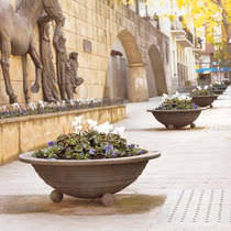 cast iron planter round contemporary for public areas