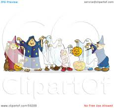 royalty free rf clipart illustration of a group of halloween