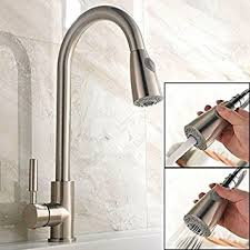 Kitchen Faucet Pull Out Sprayer by Ufaucet Brushed Nickel Stainless Steel Single Handle Pull Out
