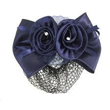 flower bow wholesale new blue flower bow hair clip snood net barrette bun