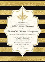 golden anniversary invitation black faux gold foil ivory