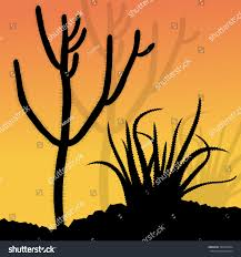 cactus silhouettes landscape desert vector background stock vector