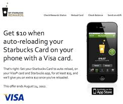 Starbucks Business Cards Free 10 Starbucks Credit For Minimum Of 25 Auto Reload One