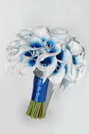 blue lilies shop vibrant bridal bouquet with blue centred white picasso lilies